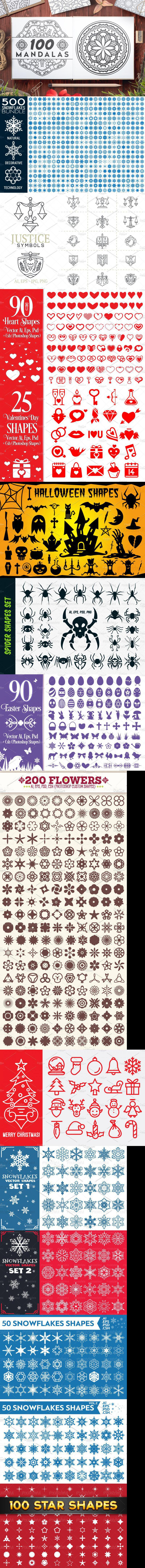 1400+ Vector Shapes Bundle