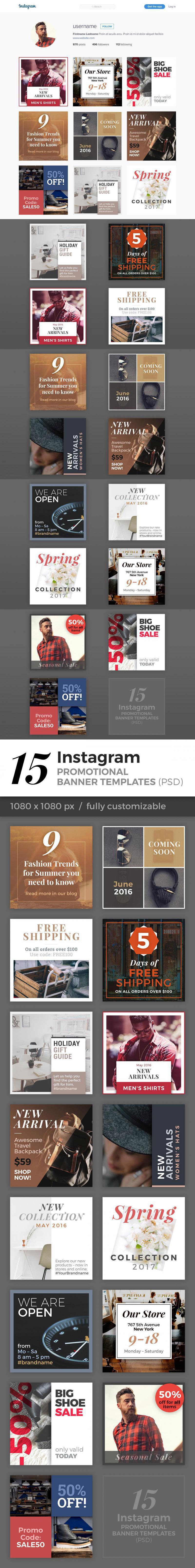 15 Instagram Banner Templates (PSD)