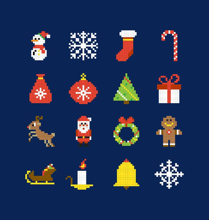 Pixel Christmas Vector Icons