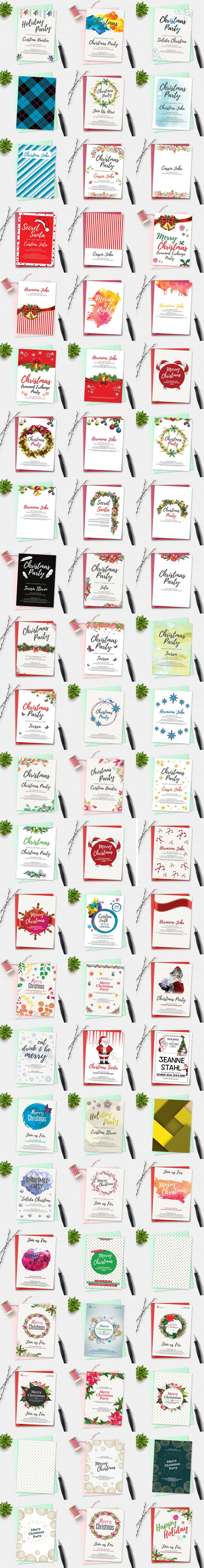 50 Christmas Invitation Cards Bundle