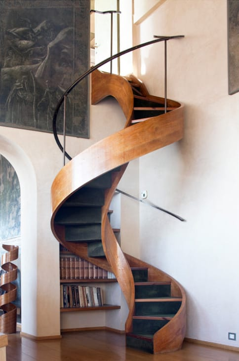 Beautiful Wooden Staircase with matching Wooden Spiral Art
