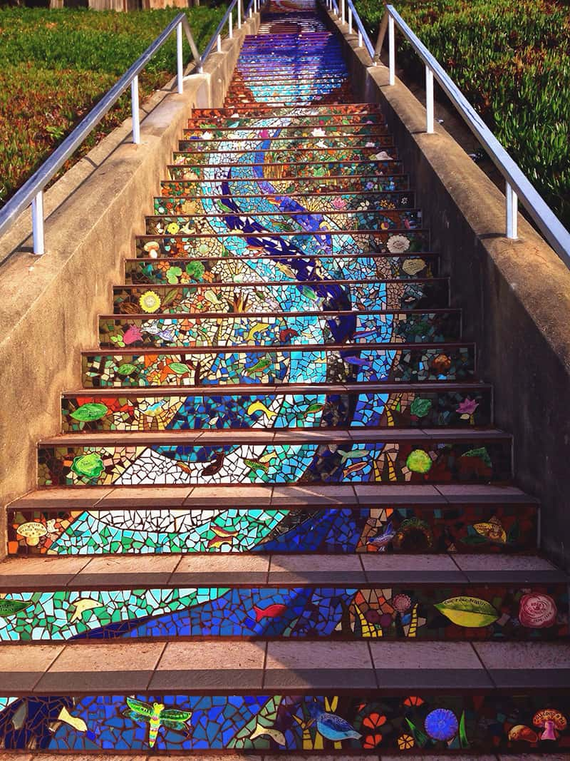 Colorful mosaic stairway in Goldengate Heights, San Francisco, CA