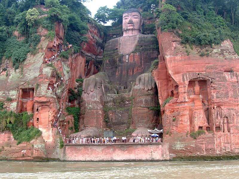 Stairs next to the Leshan Giant Buddha