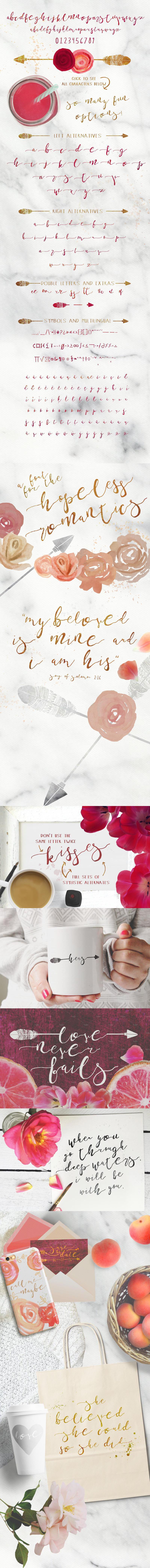 ArrowScript Font & Watercolor Bonus
