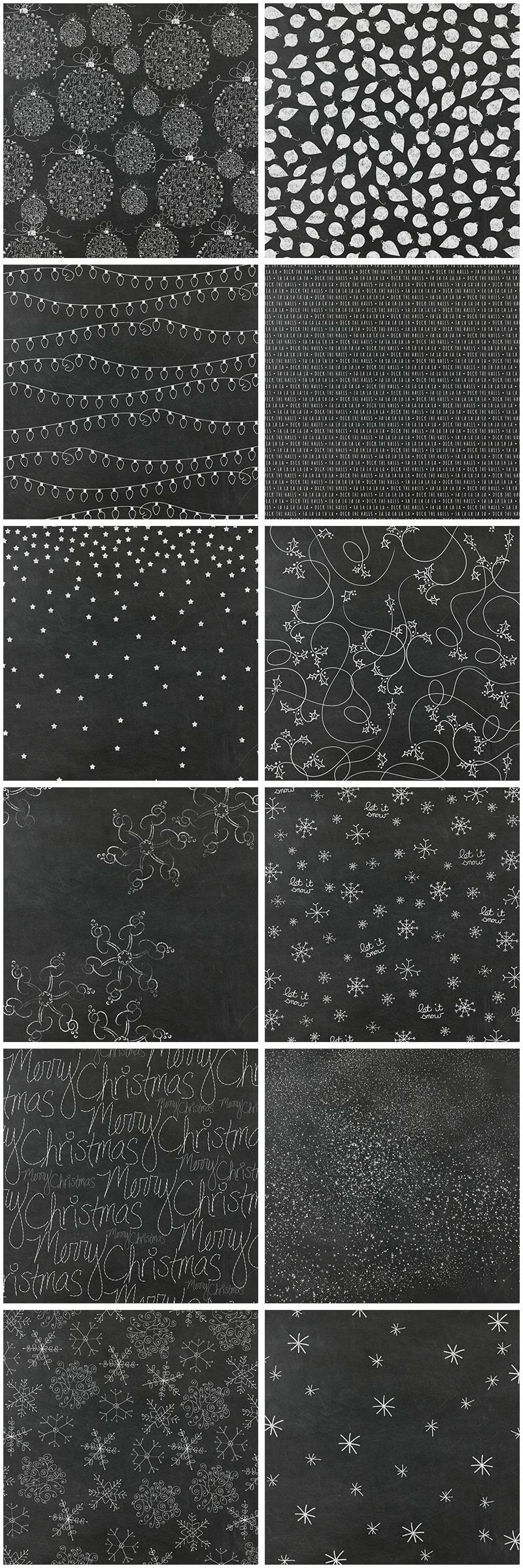 Chalkboard Christmas Digital Paper