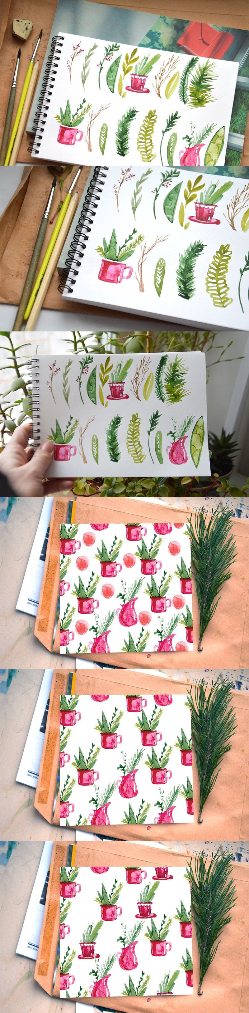 Christmas Herbal Watercolor Set