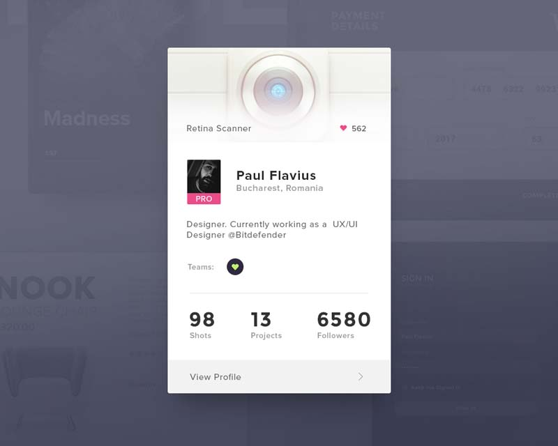 Day 019 - Dribbble Profile Card