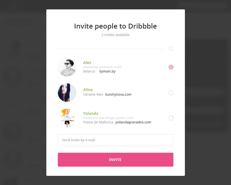 Day 021 - Dribbble Invitation Modal