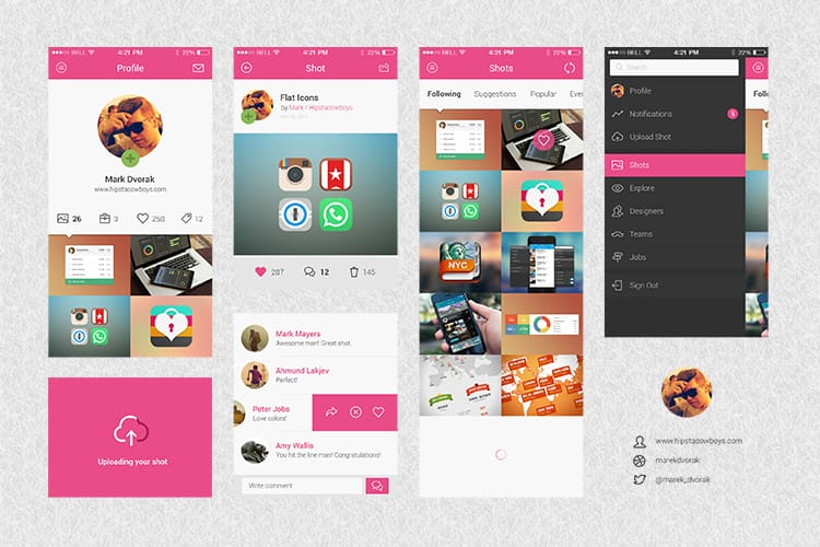 Dribbble App Concept UI Kit
