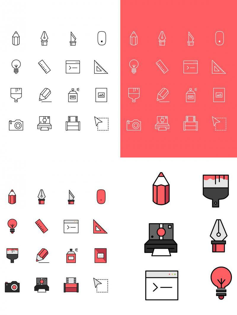 Flat Creative Icon Set