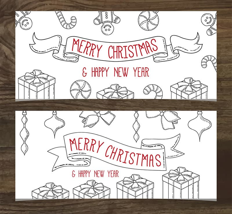 Han Drawn Christmas Banners