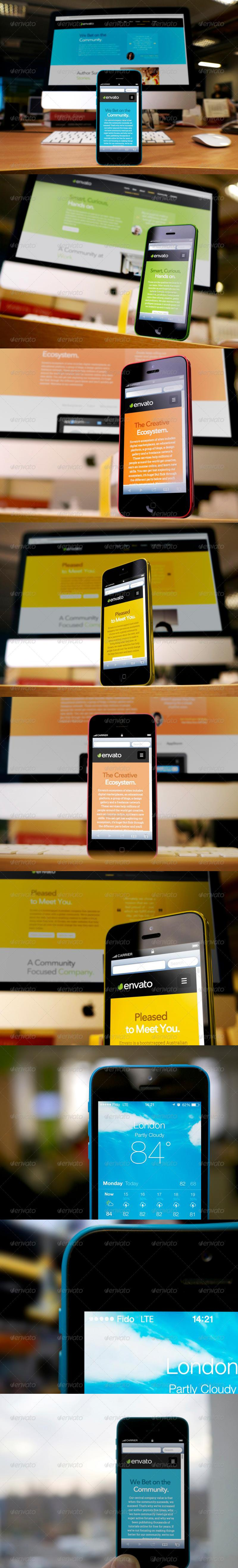 Responsive Devices Phone 5C Desktop Mock-Up