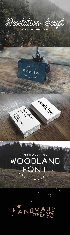 Revelation Script + Woodland Font