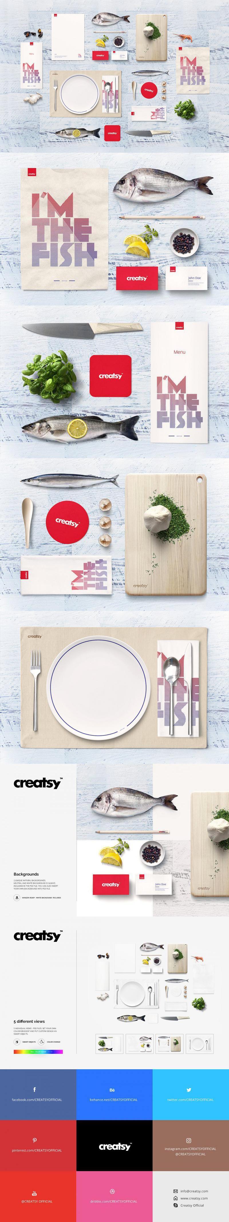 Seafood Restaurant Mockup Set