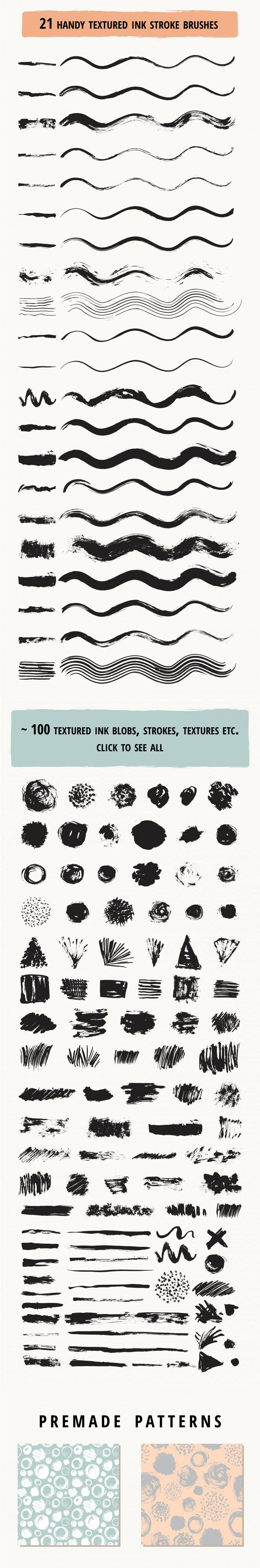 Set of 21 ink brushes for AI