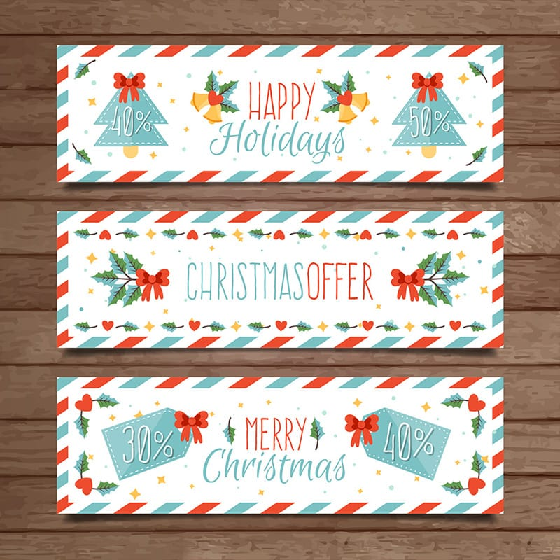 Striped Christmas Banners