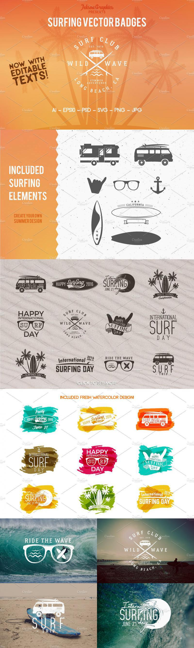 Summer Surfing Logos & Elements Vol1