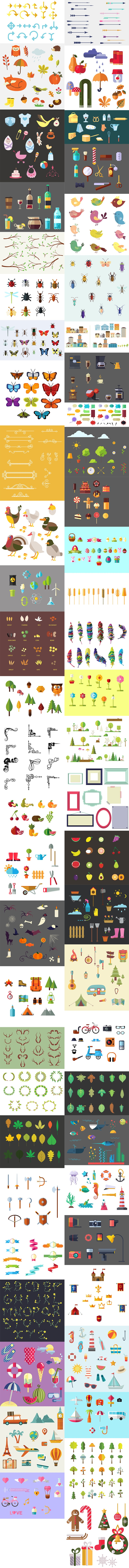 The Vector Clip Art Mega Pack with 950+ Elements
