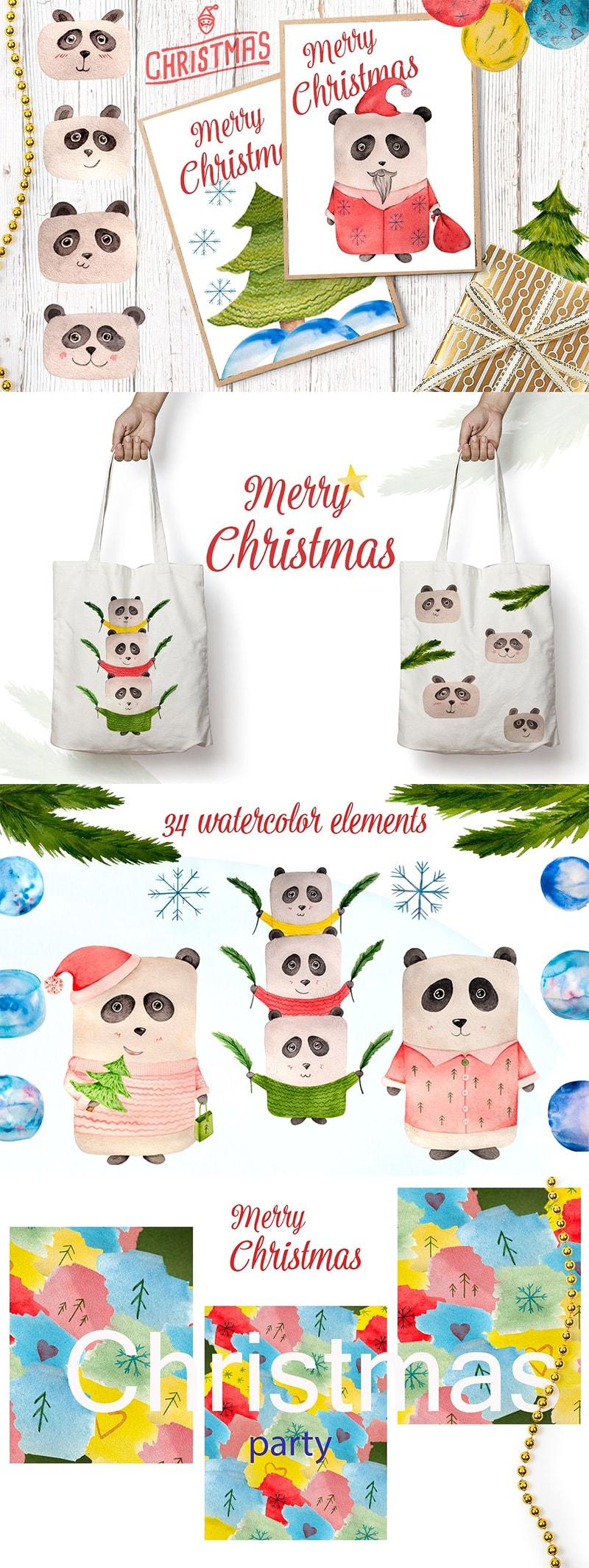 Watercolor Christmas Panda