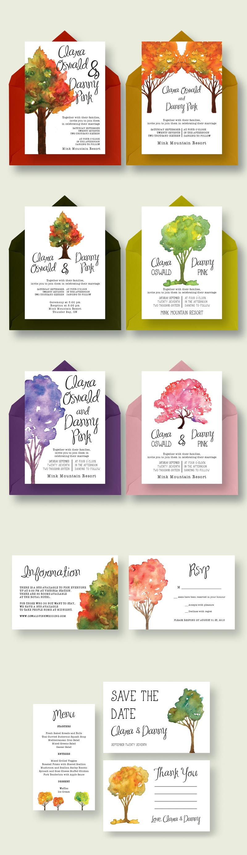 Watercolour Tree Wedding Suite 2.0