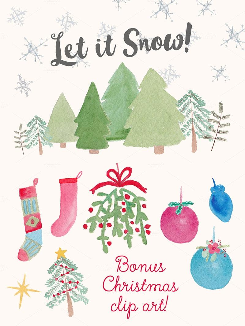 Winter Holiday Watercolor Clip Art