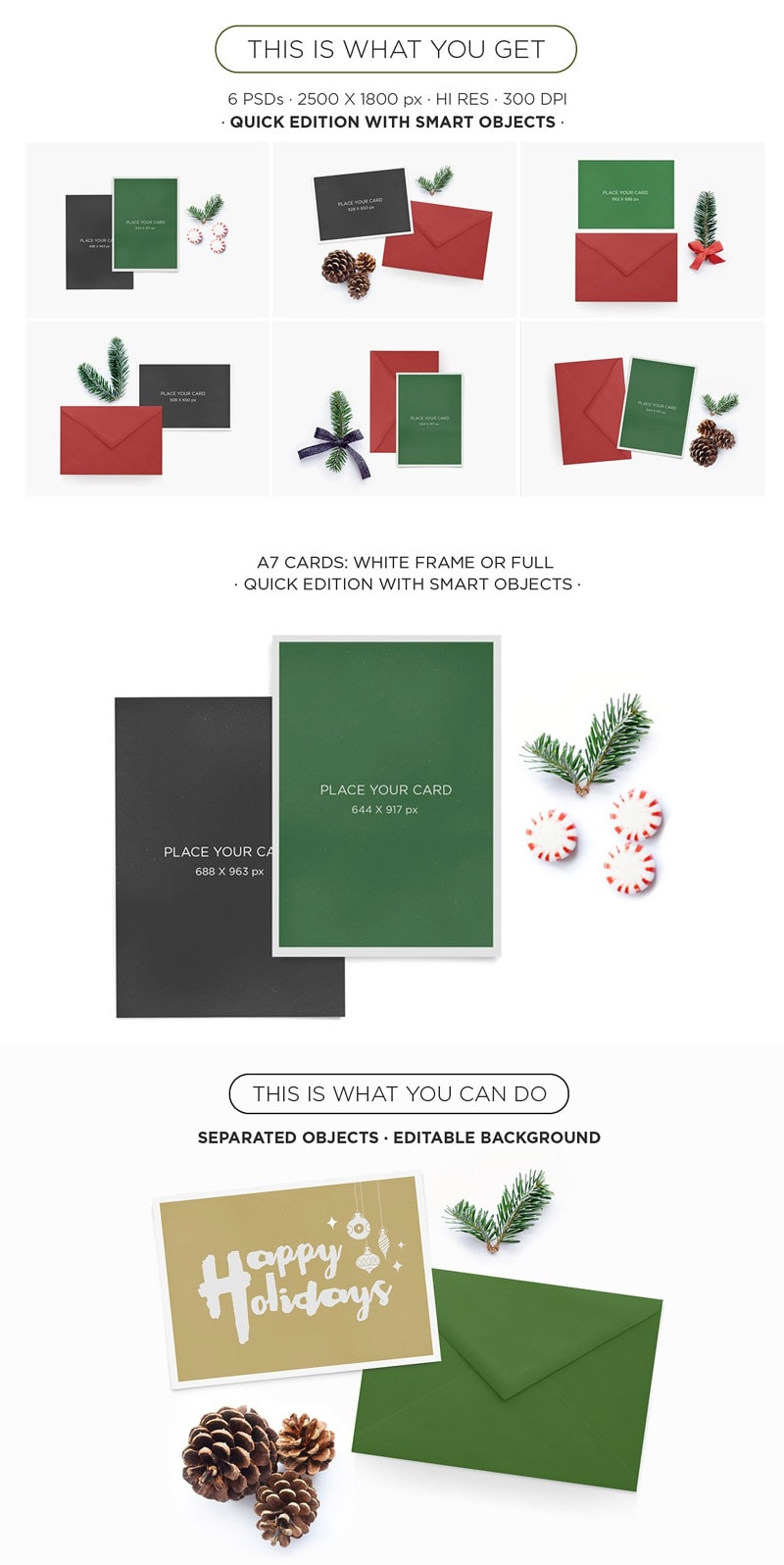 Xmas Greeting Cards Mockup