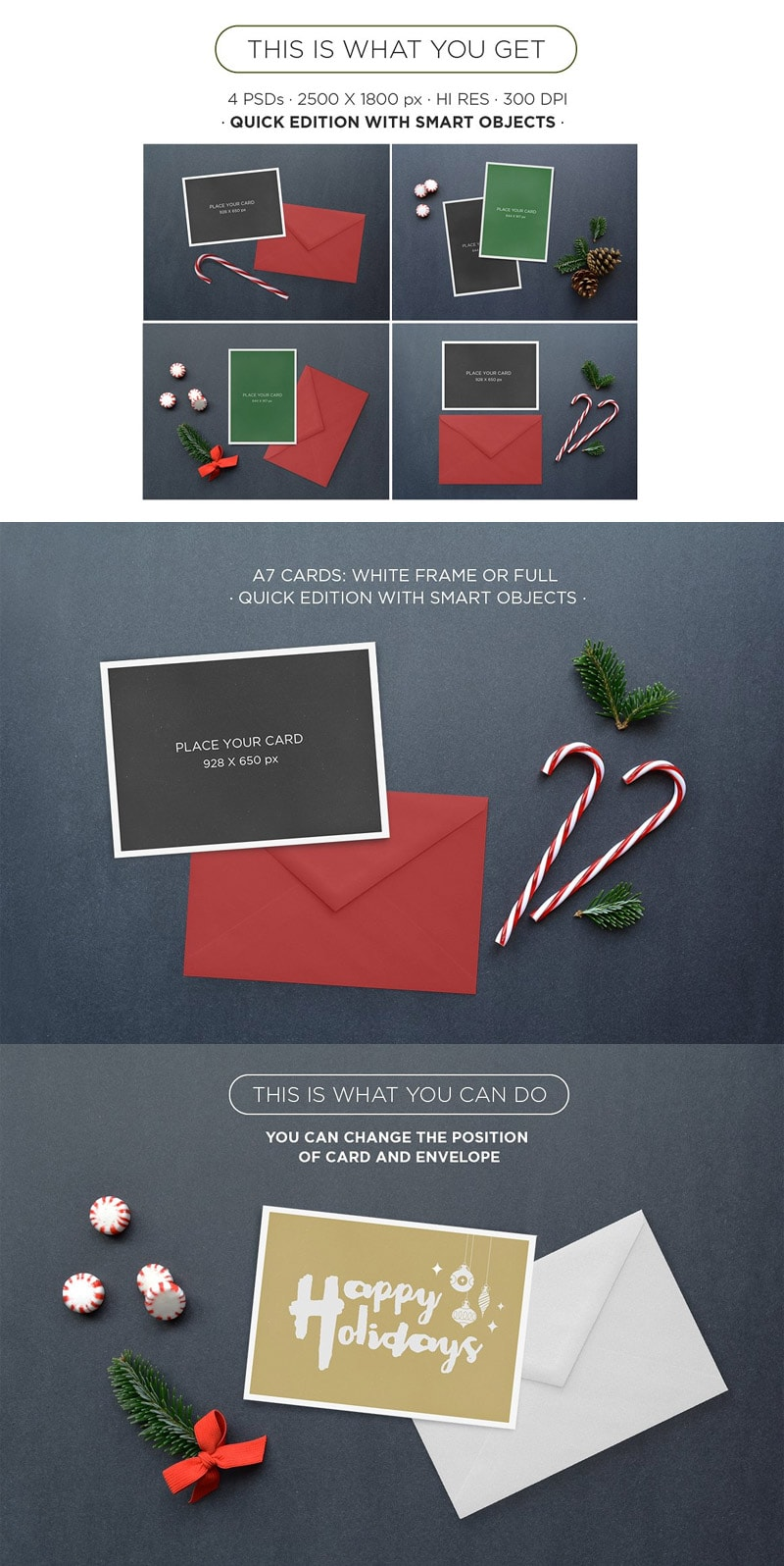 Xmas Greeting Cards Mockup Vol. 2